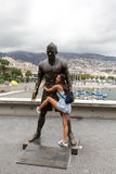 The staue Christiano Ronaldo before the entry to the Museum CR 7 in Funchal on Madeira. Stock Images