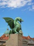 Staue de bronze do dragão, Ljubljana imagens de stock