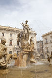 Staue of Fontana. Statue of Fontana di Artemide on the Piazza Archimede in Syracuse, Sicily, Italy Stock Photos