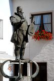 Staue and window in the center of the town of Fussen in Bavaria (Germany) Stock Image
