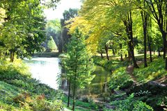 Stauen Sie mit Enten im Herbstpark Oleksandriya in Bila Tserkva, Ukraine lizenzfreie stockfotografie