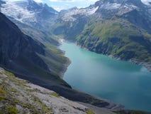 Stausee在奥地利阿尔卑斯mooserboden水坝 库存图片