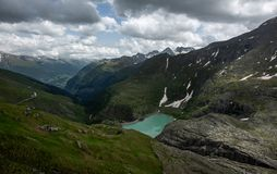 Stausee Margaritze on the high alpine road. royalty free stock photography