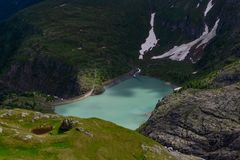 Stausee Margaritze on the high alpine road. royalty free stock photos