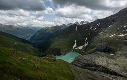Stausee Margaritze sull'alta strada alpina Fotografia Stock Libera da Diritti