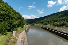 Barrage over the Neckar river along the long-distance hiking trail Neckarsteig. In Germany stock images
