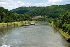 Barrage over the Neckar river along the long-distance hiking trail Neckarsteig. In Germany stock image