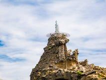 Staute da Virgem Maria no Rocher de la Vierge, Biarrtiz, Basq Fotos de Stock Royalty Free