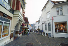 Stavanger, Νορβηγία, παλαιά πόλης οδός Στοκ Εικόνα