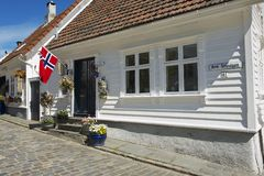 Εξωτερικό του παραδοσιακού ξύλινου σπιτιού στο Stavanger, Νορβηγία Στοκ φωτογραφίες με δικαίωμα ελεύθερης χρήσης