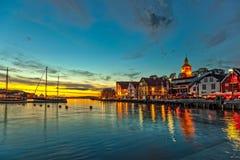 Stavanger bij nacht Royalty-vrije Stock Fotografie