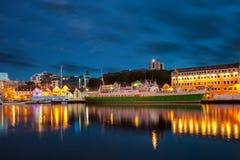 Stavanger bij nacht royalty-vrije stock afbeelding