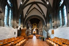 Stavanger Church interior. Stavanger, Norway - August 24 2017: Interior of the oldest Stavanger`s Church, located in the city of Stavanger in Rogaland county Royalty Free Stock Photo