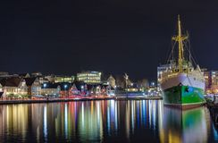 Stavanger harbor at night royalty free stock photo