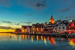 Stavanger na noite Fotografia de Stock Royalty Free