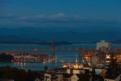 Stavanger nachts Stockfoto