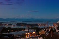 Stavanger at night. Skyline city of Stavanger, Norway Stock Images