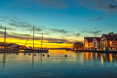 Stavanger at night. Charming town in the Norway Royalty Free Stock Photo