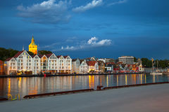 Stavanger at night. Quay in the city of Stavanger, Norway Stock Photography