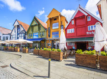 STAVANGER, NORWAY - JULY 09, 2015: Old houses (circa XIX c.) on Skagenkaien street (part of Blue Promenade) of historic center of Royalty Free Stock Photos