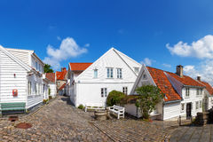 Stavanger, Norway. Street with white houses in the old part of Stavanger, Norway Royalty Free Stock Photos