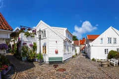 Stavanger, Norway. Street with white houses in the old part of Stavanger, Norway royalty free stock images