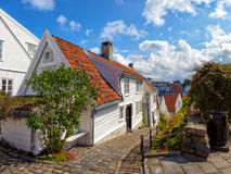Stavanger, Norway. Street with white houses in the old part of Stavanger, Norway Royalty Free Stock Image