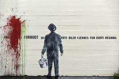 Stavanger, Norwegia, 26 2017 Lipiec: Graffiti na ścianie w Stavang Obraz Stock