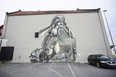 Stavanger, Norwegia, 26 2017 Lipiec: Graffiti na ścianie w Stavang Obrazy Royalty Free