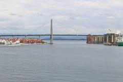 Stavanger stadsbro, Norge Arkivbild