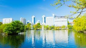 Stavanger-Stadtpark und Hotels Norwegen lizenzfreie stockbilder