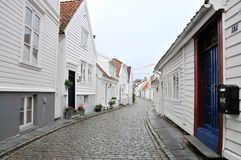 Stavanger street. Traditional wooden houses in Stavanger, Norway. Norweigan style Royalty Free Stock Photography
