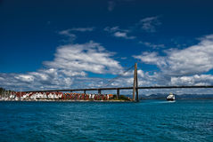 Stavanger town coastline. And bridge, Norway Stock Image