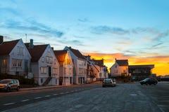 Stavanger in zonsondergangtijd Stock Foto's