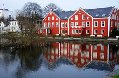 Stavangher houses. Stavangher traditional houses reflecting in city central lake, Norway Royalty Free Stock Images