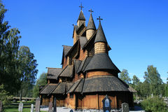 Stave church. Nice Wooden church in Norway Royalty Free Stock Image