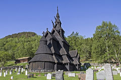 Stave church Borgund. Borgund - stave church from the 12th century  located in Laerdal in Norway Royalty Free Stock Images
