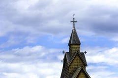 Stave Church Detail nel cielo Immagine Stock Libera da Diritti
