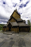Stave Church of Heddal in Norway. Dramatic sky above the stve church of Heddal in Norway Royalty Free Stock Images