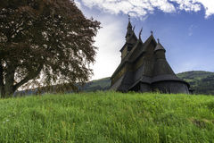 Stave Church on the Hill. Exotic view of the Hopperstad stave church in Norway Stock Images