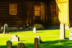 Stave church in Lom on 7 July 2018, Norway