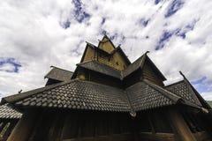 Stave Church nel cielo Fotografie Stock
