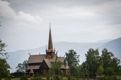 A stave church on a nice cloudy background Royalty Free Stock Photos