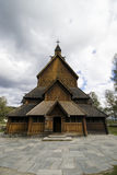 Stave church, Norway. A traditional Norwegian church made of wood only, called 'stavkirke', Wide angle view Royalty Free Stock Photography