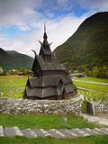 Stave Church, Norway. Stavkirke stave church in Norway. The Norwegian  Stave Churches are the oldest wooden structures in the world Stock Image