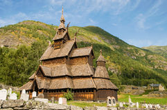 The stave church (wooden church) Borgund, Norway Royalty Free Stock Photography