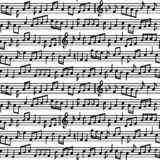 Stave with music notes seamless pattern. Black and white music notes sheet seamless pattern. royalty free stock images