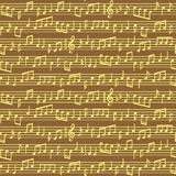 Stave with music notes seamless pattern. Brown and golden vector music notes sheet seamless pattern. stock photos