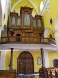 The organ of the Church of St. Sebastian in Stavelot, Belgium stock image