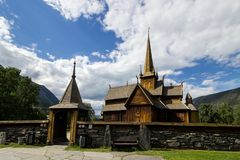 Church in Lom in Norway. Stavkirke church and gate in Lom in South Norway Royalty Free Stock Images